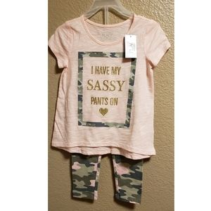 Camo/ coral / gold glitter toddler two piece